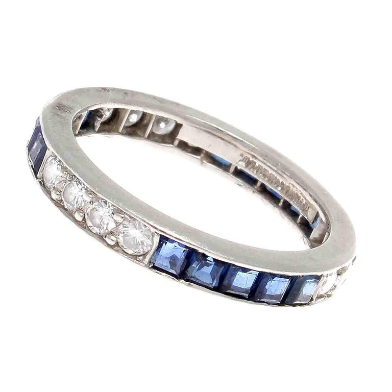 Sapphire Wedding Rings.Vintage Tiffany Co Sapphire Diamond Platinum Eternity Ring
