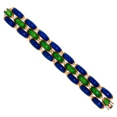 Vintage Tiffany & Co. Schlumberger Blue and Green Enamel Bracelet in 18KY Gold