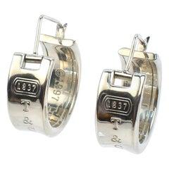 Vintage Tiffany & Co. Sterling Silver 1837 Mark Wide Hoop Earrings