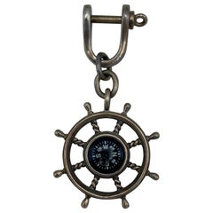 Vintage Tiffany & Co. Sterling Silver and Enamel Compass Key Chain