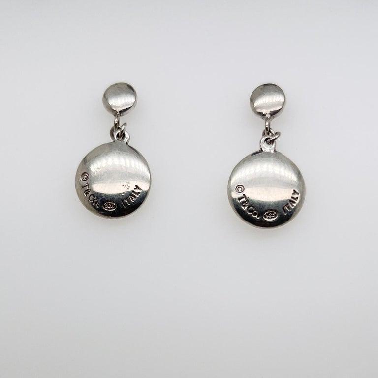 Modern Vintage Tiffany & Co. Sterling Silver Disc or Dot Dangle Earrings