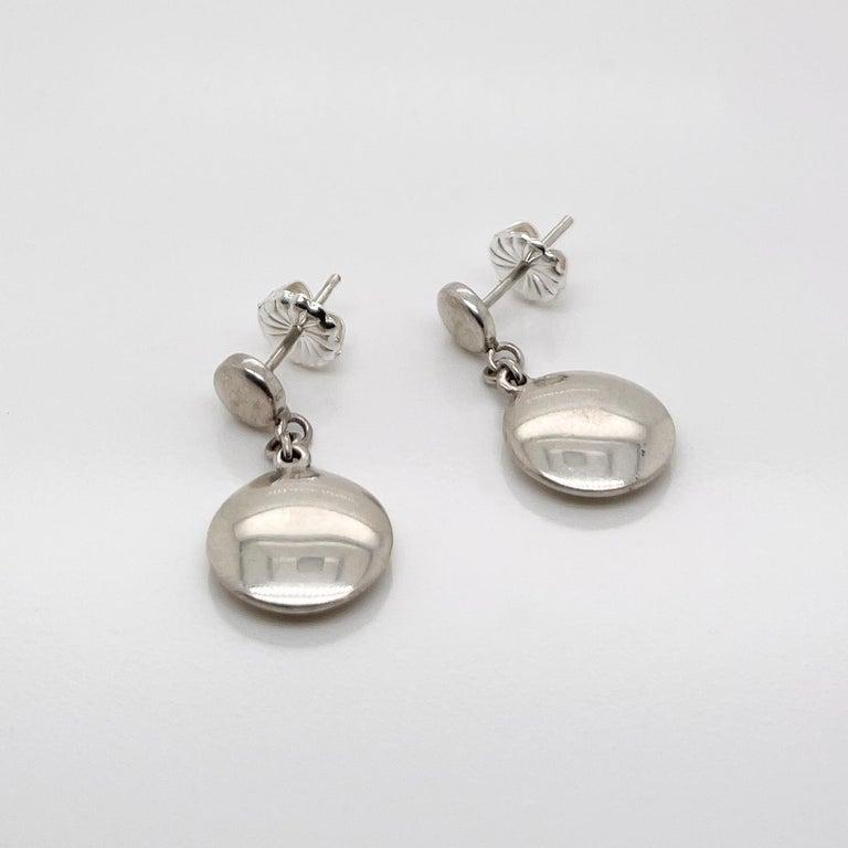 Women's Vintage Tiffany & Co. Sterling Silver Disc or Dot Dangle Earrings