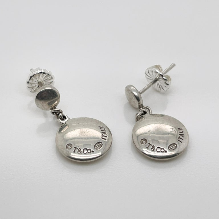 Vintage Tiffany & Co. Sterling Silver Disc or Dot Dangle Earrings 1