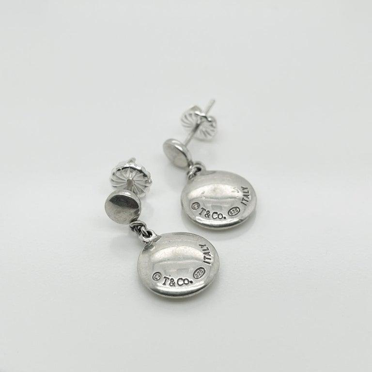 Vintage Tiffany & Co. Sterling Silver Disc or Dot Dangle Earrings 2