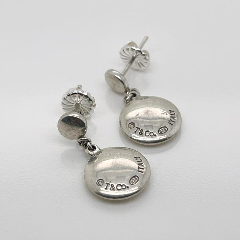 Vintage Tiffany & Co. Sterling Silver Disc or Dot Dangle Earrings 3
