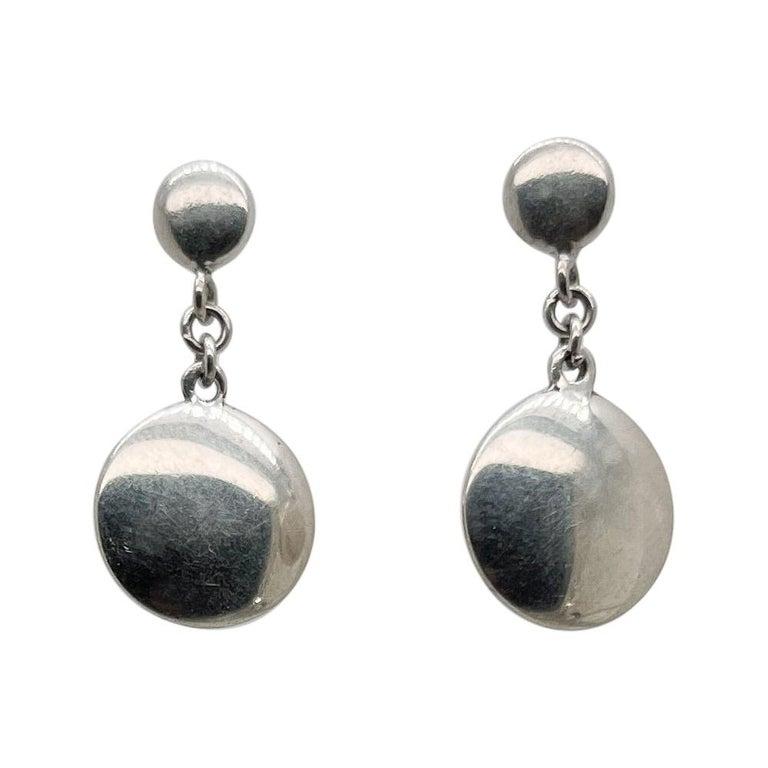 Vintage Tiffany & Co. Sterling Silver Disc or Dot Dangle Earrings
