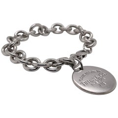 Vintage Tiffany & Co. Sterling Silver Dog Chain Link Bracelet with Round Charm