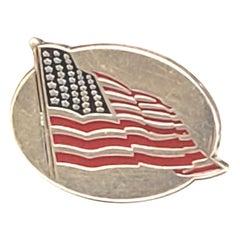 Vintage Tiffany & Co Sterling Silver Enamel American Flag Lapel Pin
