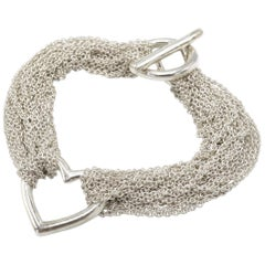 Vintage Tiffany & Co. Sterling Silver Heart Mesh Bracelet Toggle Closure