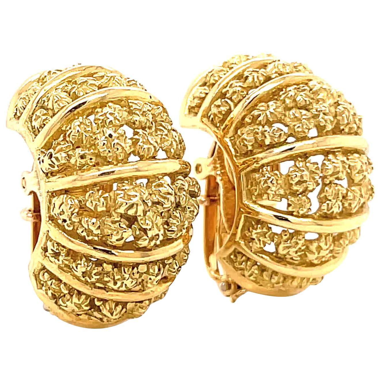 Vintage Tiffany & Co. Textured 18 Karat Gold Ear Clips