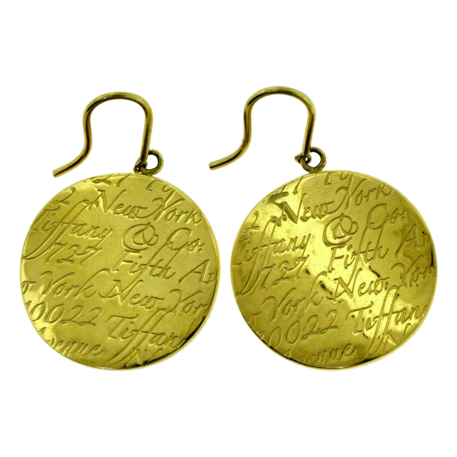 """Vintage Tiffany & Co. """"Tiffany Notes"""" Round Yellow Gold Drop Dangle Earrings"""