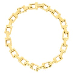Vintage Tiffany & Co. 'Tiffany T' Chain Link Bracelet Set in 18k Yellow Gold