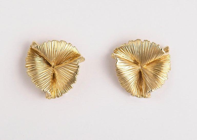Vintage Tiffany & Co. Triple Fan Motif Earrings In Excellent Condition In Atlanta, GA