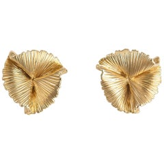 Vintage Tiffany & Co. Triple Fan Motif Earrings