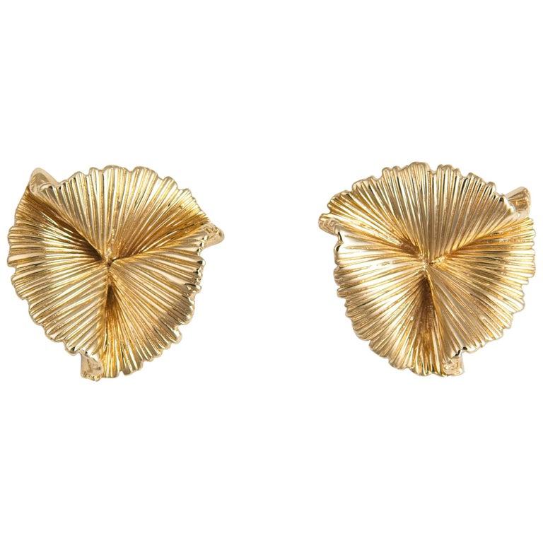 Vintage Tiffany & Co. Triple Fan Motif Earrings