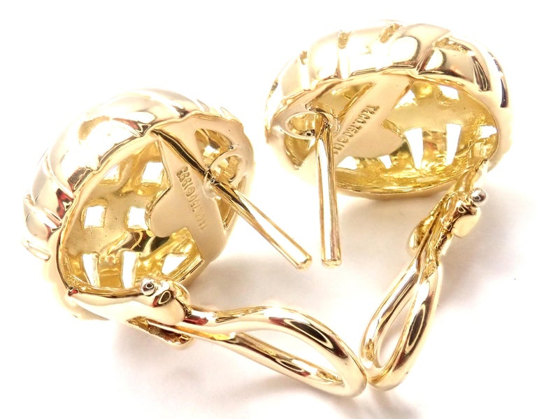 Vintage Tiffany & Co. Vannerie Basket Weave Yellow Gold Earrings For Sale 2