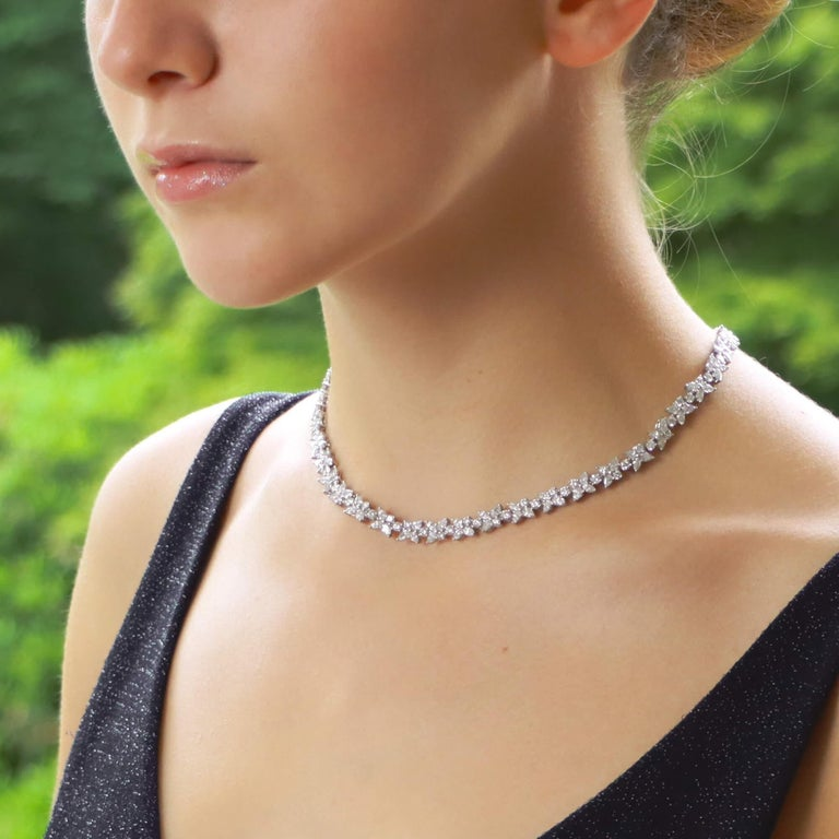 Contemporary Vintage Tiffany & Co. Victoria Mixed Cluster Diamond Necklace Set in Platinum For Sale