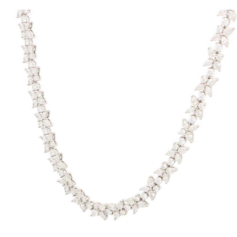 Round Cut Vintage Tiffany & Co. Victoria Mixed Cluster Diamond Necklace Set in Platinum For Sale