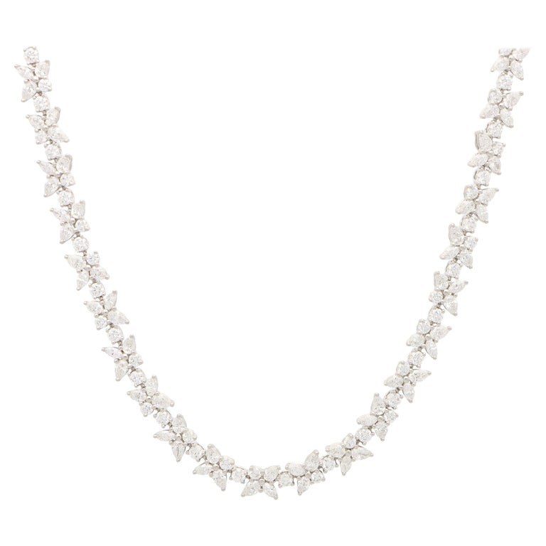 Vintage Tiffany & Co. Victoria Mixed Cluster Diamond Necklace Set in Platinum For Sale