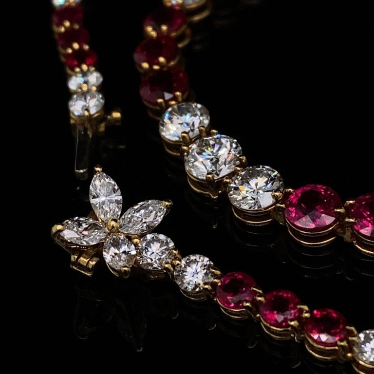 Round Cut Vintage Tiffany & Co Victoria Ruby Diamond Line Necklace in 18 Karat Yellow Gold For Sale