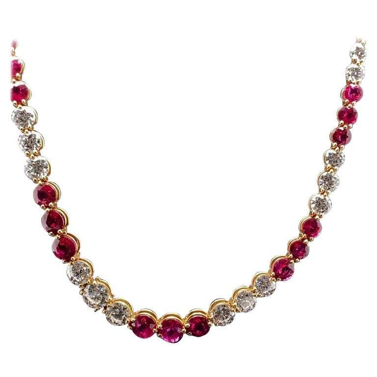 Vintage Tiffany & Co Victoria Ruby Diamond Line Necklace in 18 Karat Yellow Gold For Sale