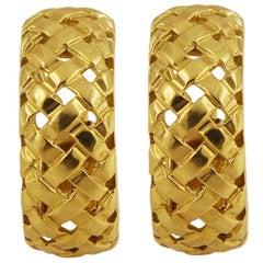 Vintage Tiffany & Co. Wheat Basket Weave Gold Hoop Earrings