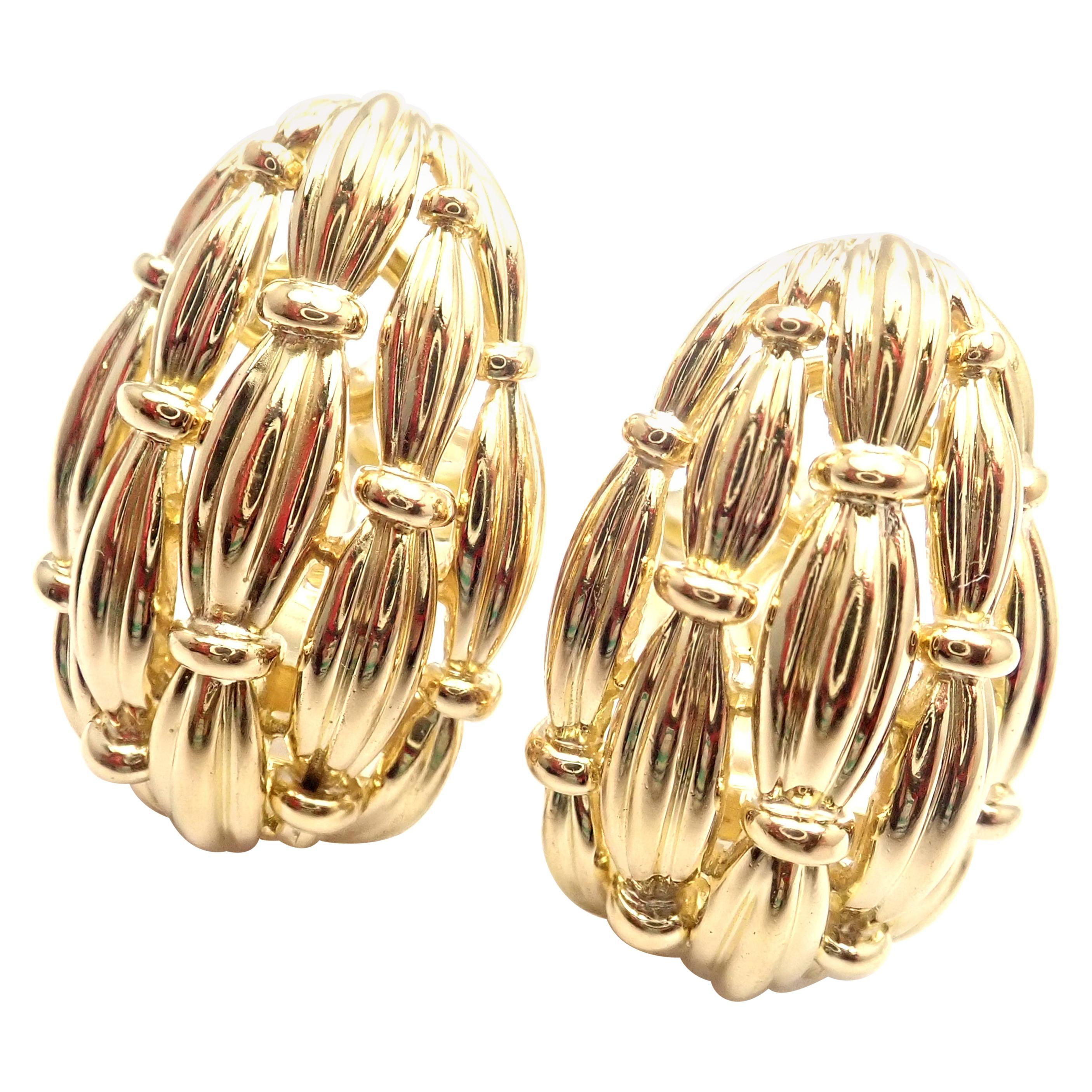 Vintage Tiffany & Co. Woven Basketweave Yellow Gold Earrings