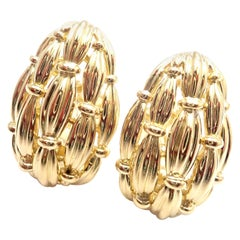 Vintage Tiffany & Co. Woven Basketweave Yellow Gold Earrings