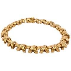 "Vintage Tiffany & Co. ""X"" Bracelet in 18 Karat Yellow Gold"