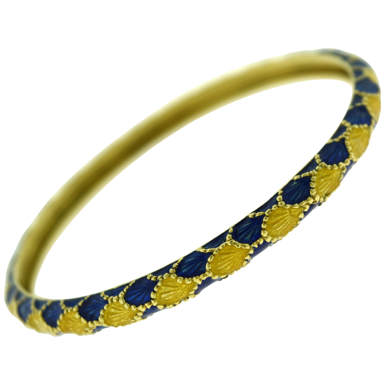 Vintage Tiffany & Co. Yellow Gold and Blue Enamel Design Bangle Bracelet