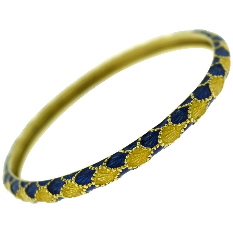 Vintage Tiffany & Co. Yellow Gold and Blue Enamel Design Bangle Bracelet For Sale