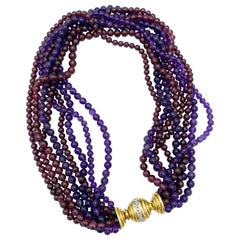 Vintage Tiffany & Co. Yellow Gold, Diamond, Amethyst and Garnet Bead Necklace