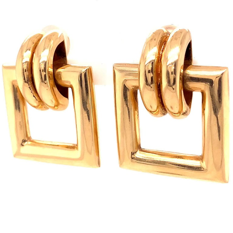 Vintage Tiffany & Co. Yellow Gold Door Knocker Earrings In Excellent Condition For Sale In Beverly Hills, CA