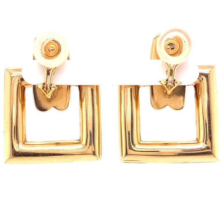 Women's or Men's Vintage Tiffany & Co. Yellow Gold Door Knocker Earrings For Sale