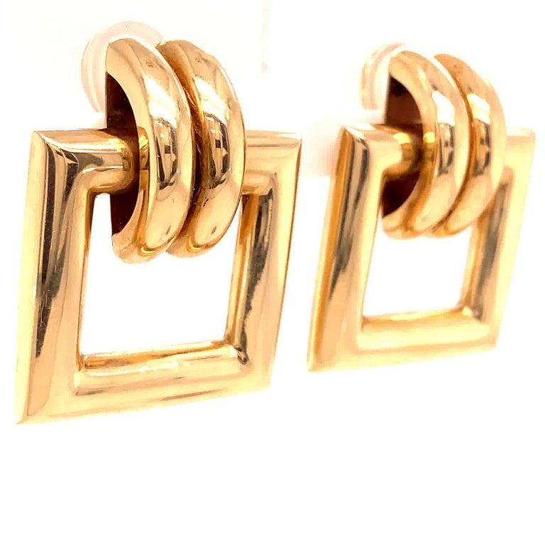 Vintage Tiffany & Co. Yellow Gold Door Knocker Earrings For Sale 1