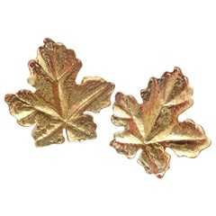 Vintage Tiffany & Co. Yellow Gold Leaf Earrings
