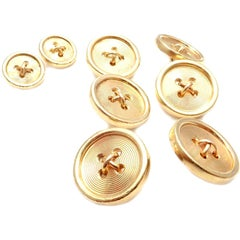 Vintage Tiffany & Co. Yellow Gold Shirt Cufflinks Tuxedo Buttons Set