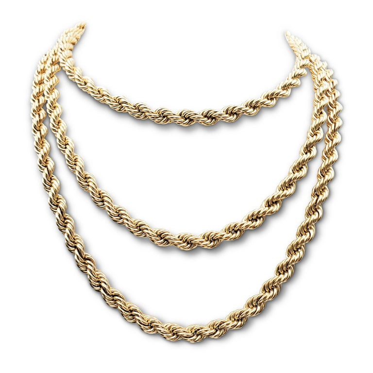 Vintage Tiffany & Co. Yellow Gold Twisted Rope Chain Necklace In Excellent Condition For Sale In New York, NY