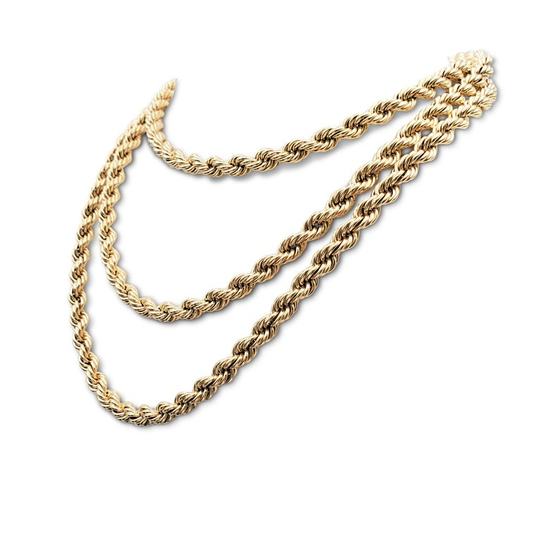 Women's or Men's Vintage Tiffany & Co. Yellow Gold Twisted Rope Chain Necklace For Sale