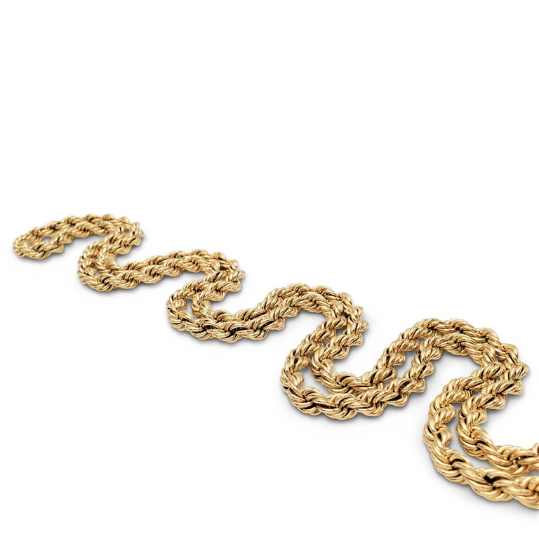 Vintage Tiffany & Co. Yellow Gold Twisted Rope Chain Necklace For Sale 2