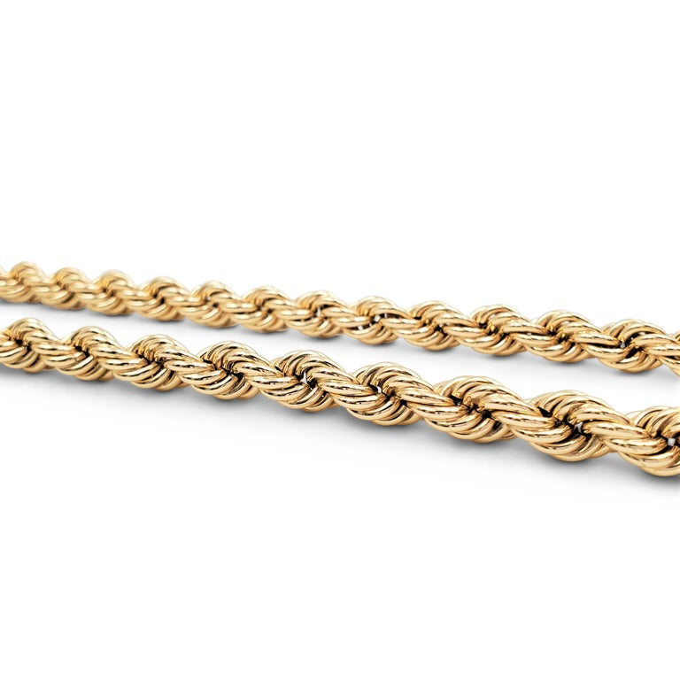Vintage Tiffany & Co. Yellow Gold Twisted Rope Chain Necklace For Sale 3