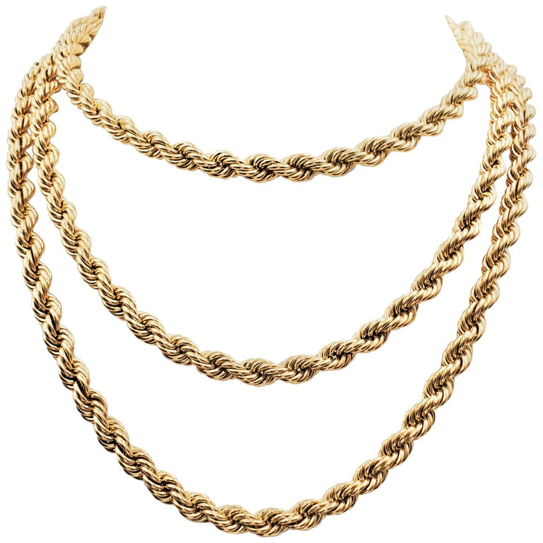 Vintage Tiffany & Co. Yellow Gold Twisted Rope Chain Necklace For Sale