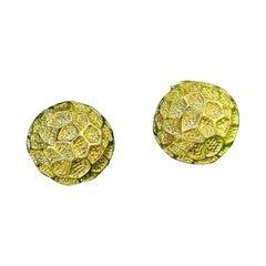 Vintage Tiffany Moon Landing 18 Karat Gold Clip on Earrings