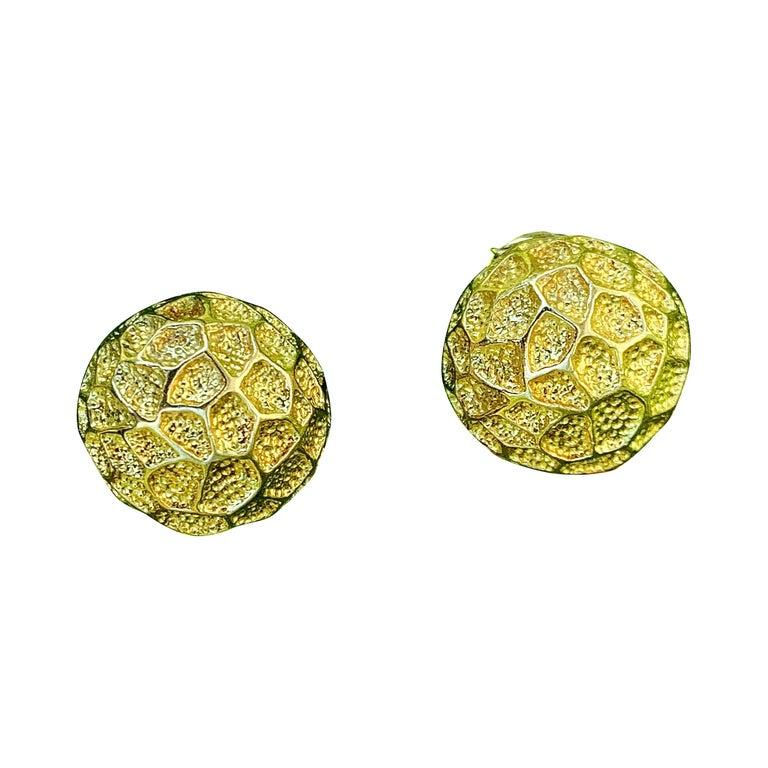 Vintage Tiffany Moon Landing 18 Karat Gold Clip on Earrings For Sale