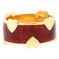 Vintage Tiffany Schlumberger 18 Karat Gold Red Enamel Heart Band Ring