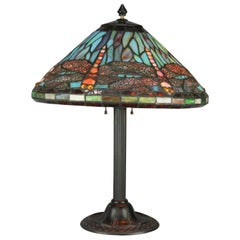Vintage Tiffany Style Mosaic Jeweled and Leaded Glass Dragonfly Table Lamp