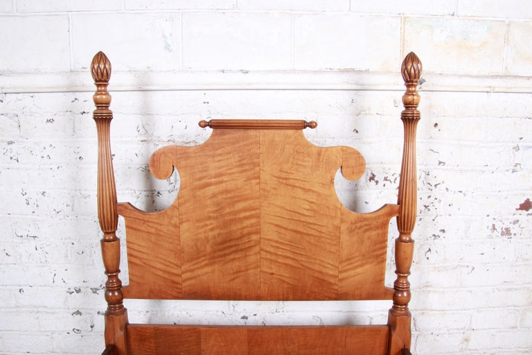 American Vintage Tiger Maple Twin Pineapple Poster Bed For Sale