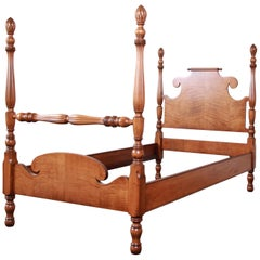 Vintage Tiger Maple Twin Pineapple Poster Bed