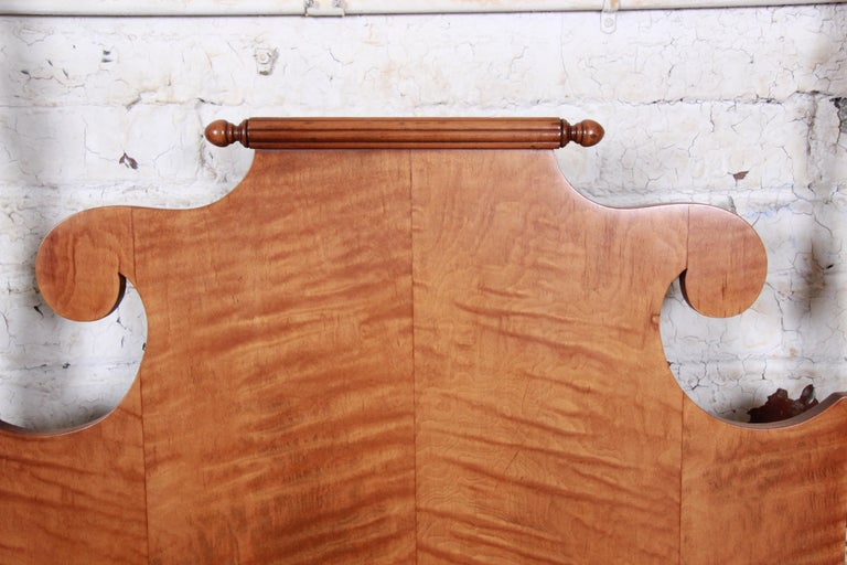 Vintage Tiger Maple Twin Pineapple Poster Beds, Pair For Sale 2