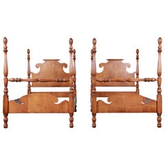 Vintage Tiger Maple Twin Pineapple Poster Beds, Pair
